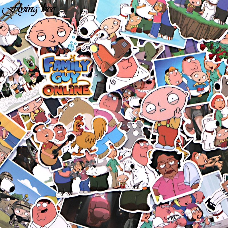 Image 2 - Flyingbee 55 Pcs Family Guy funny Anime Sticker Decals Scrapbooking Stickers for DIY Luggage Laptop Skateboard Car X0010-in Stickers from Consumer Electronics