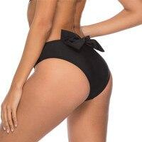 New Bow sexy Designer Fold Single piece swimming trunks swimwear women bathing suits beach wear black high waist Bikini bottoms