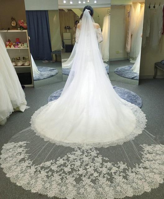 White Long Lace Cathedral Wedding Veils 3 Meters Cheap Bride Bridal Veils 2016 velos de novia voile mariage com renda