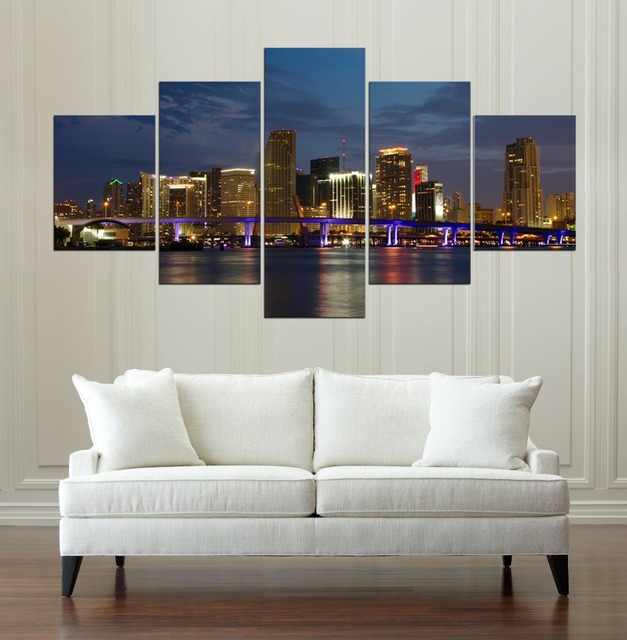 Miami Night Panorama Canvas Painting Wall Art Game 5 Pieces Prints ...