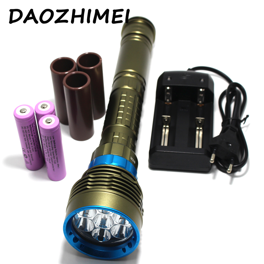 New Waterproof 7*XM-L2 14000LM LED Diving Flashlight Underwater Lamp Torch 150m Scuba Diver Lanterna Power By 18650 26650 new power 18000 lumen underwater flashlight 7 x xm l2 led scuba diving flashlight diver torch light have 3x18650 and charger