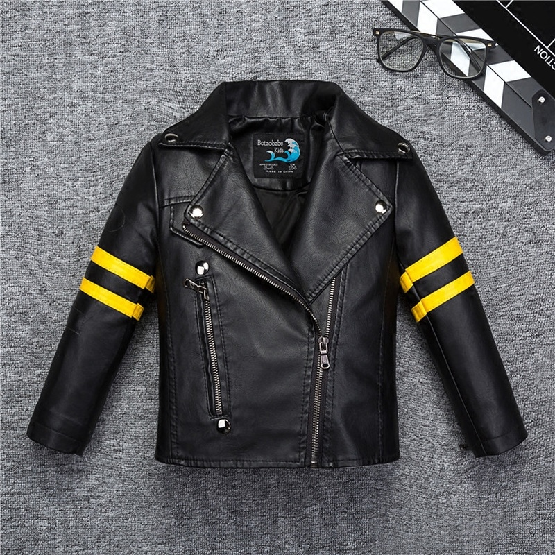 Yellow Striped Boys Girls Leather Jacket for Autumn Spring Kids Fashion Coat Bicycle Bomber Children's Clothing baby jacket