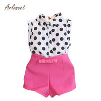 ARLONEET Girl Child Kid Polka Dot T Shirt Tops Pink Bowknot Pants Shorts 1Set Sleeveless Cotton