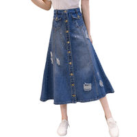 New Fashion Denim Skirt Women Large Size Vintage Hole Loose Button Long Skirt Jeans Saia Mujer 2019 Spring Summer Faldas f667