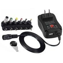 Адаптер 3 в 4,5 в 5 в 6 в 7,5 в 9 в 12 В 2A 2.5A AC DC Регулируемый адаптер питания Универсальное зарядное устройство для светодиодной ленты 30 Вт SP 500ma 1A