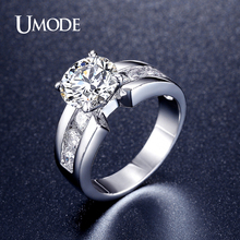 UMODE Vintage CZ  Ring Fashion Jewelry Rhodium plated Wedding Engagement Rings For Women Bijoux Bague 2016 New AUR0332