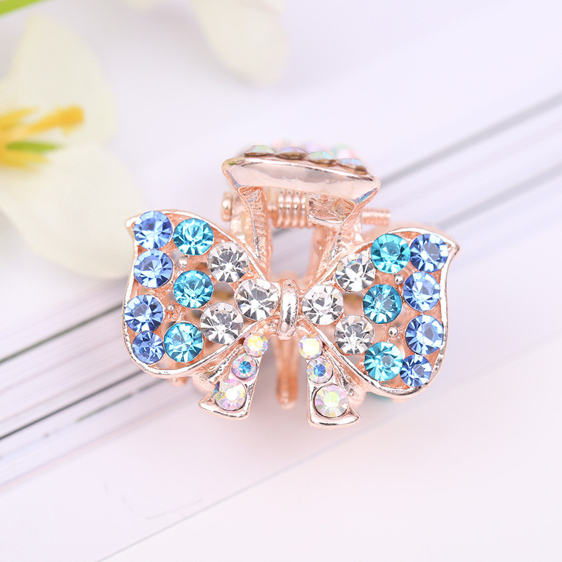 Exquisite rhinestone color butterfly flower peacock crown shape small grab clip bangs grab clip hair accessories headdress in Women 39 s Hair Accessories from Apparel Accessories