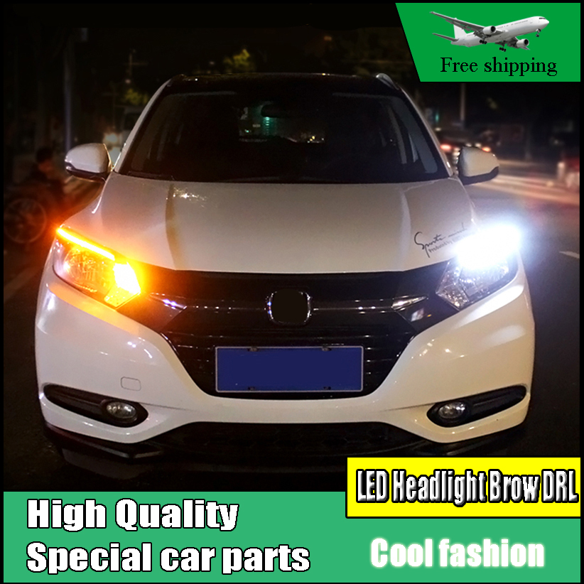 Car-styling LED Headlight Eyebrow Daytime Running Light DRL With Yellow Turn Signal Light For Honda HR-V HRV 2014-2017 Parts radiator grille protective cover grill guard protector for 2007 2008 2009 2010 2011 2012 2013 2014 2015 2016 kawasaki z1000