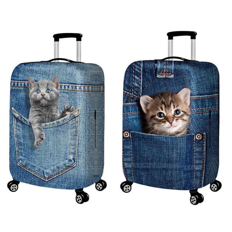 Animal 3d gato cão bagagem capa protetora 18-32 Polegada mala caso elástico cobre bagagem trolley capa de poeira acessórios de viagem