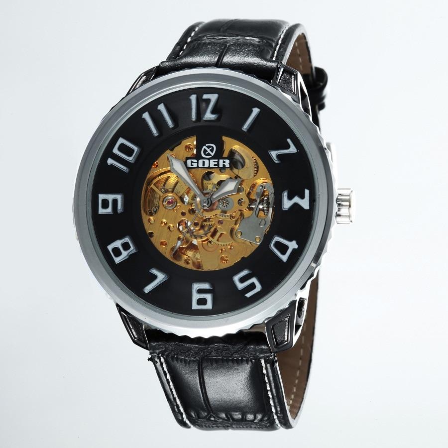 GOER brand Fashion watches men Leather waterproof Luminous Skeleton Automatic mechanical male digital Wrist watches