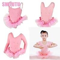 Children Long Sleeve Ballet Tutu Kids Pink Tank Camisole Training Practicing Ballet Tutu Dress Girls CT2038