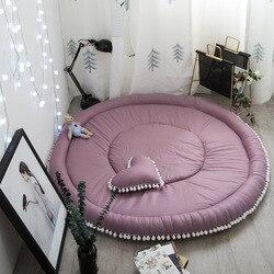 Nowoczesne Nordic proste mata dla dzieci noworodka dywanik podłogowy bawełna dla dzieci dla dzieci dywan wspinaczka Mat bawełna okrągły dzieci gruby dywan poduszki w Dywany od Dom i ogród na