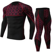 Men Gym Fitness Clothing Sportswear Quick Dry Compression Suits Men's Running Set Plaid tracksuit tight T-shirt+Jogging 2pcs set цена и фото