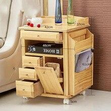 Сплошная деревянная прикроватная тумбочка для спальни, прикроватная тумбочка, простые современные детские ящики, Короткие прикроватные шкафчики, цвет соснового дерева