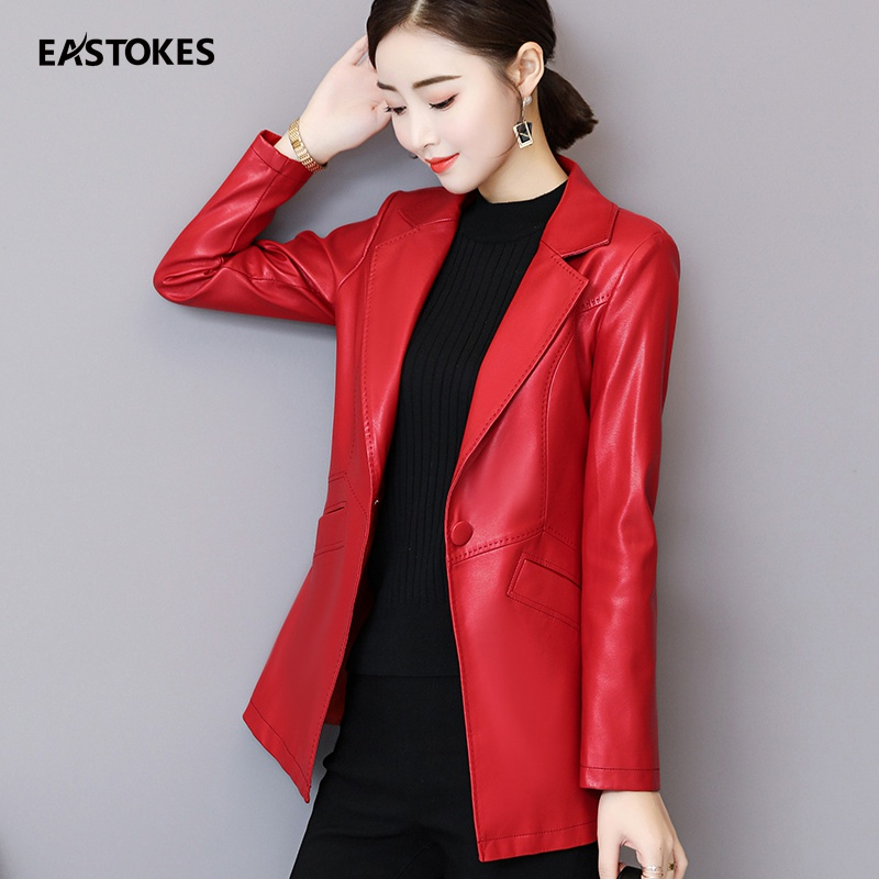 2018 automne hiver mode dames en cuir costume veste Slim Fit Long manteau Faux cuir vêtements d'extérieur femmes tenues Long Style Plus Sz