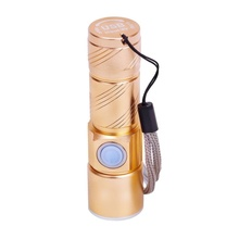 USB Handy Powerful LED Flashlight Rechargeable Torch usb Flash Light Bike Pocket LED Zoomable Lamp For Hunting Black