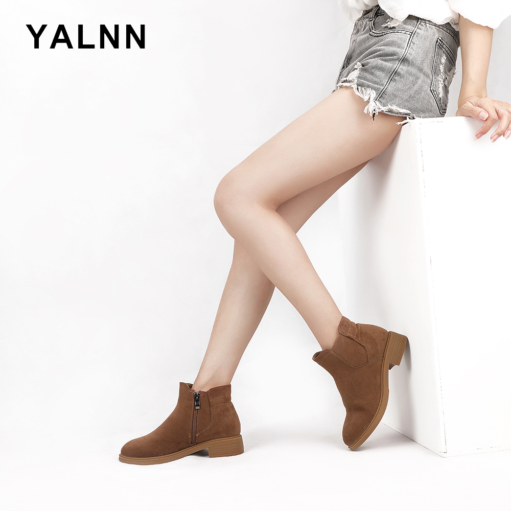 YALNN Fashion Basic Boots Women Shoes Ankle Snow Brown/Black Short Plush Zipper Rubber Sole Winter for