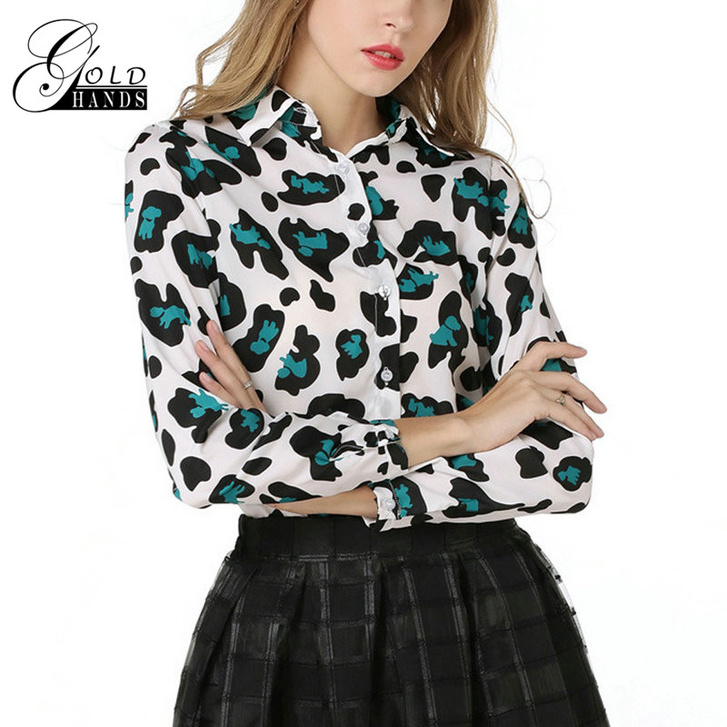 New Fashion Women Blouse Shirt Spring Leopard Long Sleeve Chiffon Shirt Ladies Casual Turn-Down Collar Female Tops