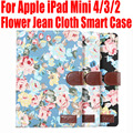 50pcs/Lot Flower Jean Cloth Smart Case For Apple iPad Mini 4 3 2 With Credit Card slots PU Leather Cover for iPad mini4 IM406