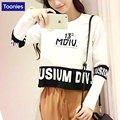 Female Loose Tee Short Autumn Korean Students Roundneck Letter Printed Long Sleeved Shirt T-shirt Woman Black White Cloth Tops
