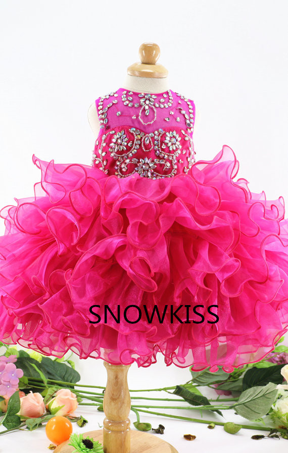 Gorgeous hot pink for baby girls tutu floral dress beaded crystal little princess evening and pageant dresses