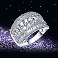 Anniversary Rings For Women Cute Romantic Jewelry Real White Gold Plated Pave Seeting AAA Cubic Zirconia Copper Metal Lead Free