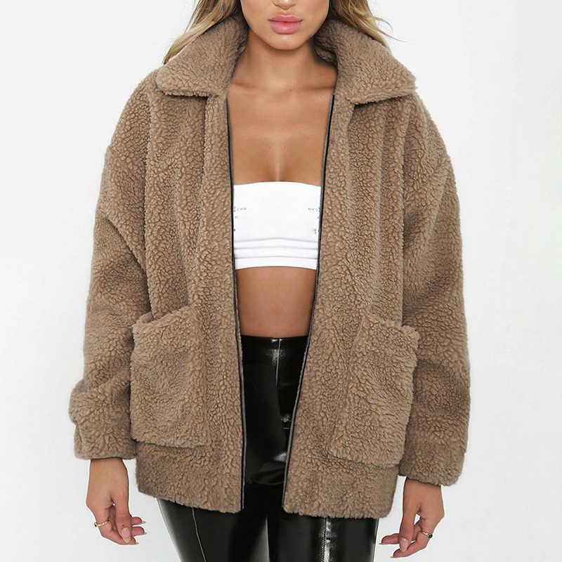 Отложной воротник из овечьей шерсти пальто из искусственного меха для женщин осень зима толстые теплые повседневные куртки с карманами верхняя одежда пальто плюс размер 3XL