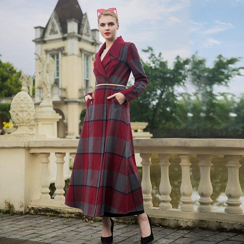 Long Laine Pardessus Chaud À Femmes De Carreaux Britannique Manteau Manteaux D'hiver Ol 6978 Style Dame qCIpaPw