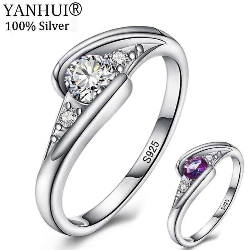 YANHUI D'origine Nouveau Style 925 Solide Argent Anneaux De Mariage pour les Femmes Mode 0.5 Carat CZ Bijoux En Cristal Anneaux pour Femal LR0365