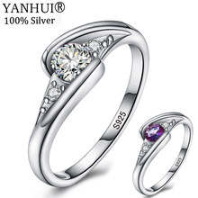 YANHUI Original New Style 925 Solid Silver Wedding Rings for Women Fashion 0.5 Carat CZ Crystal Jewelry Rings for Femal LR0365(China)