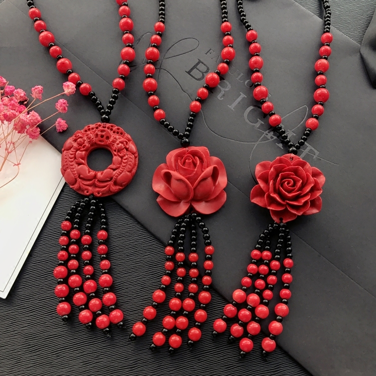Long Red Cinnabar /& Black Lava Necklace w Oval Pendant and Earrings Red Good Luck Necklace Set in Carved Cinnabar