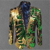 2020 Men New Jacket Men Sequin Gold Green Blazer Suit Coat Male Costume Prom Wedding Groom Outfit Singer Black Party Stage