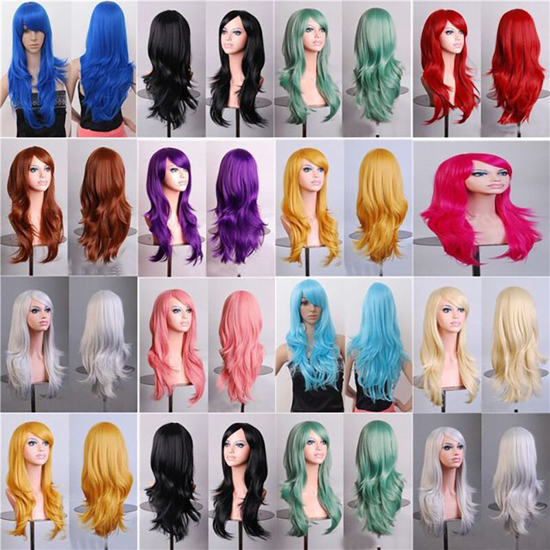 Cheap 70CM 27'' long wavy anime Cosplay Wigs Fake Heat Resistant Synthetic Hair Black Blue Brown Blonde wavy Wigs +wigs cap