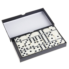 Wooden White Dominoes Board Game 28Pcs/Set Travel Dominoes with Box for Children Game