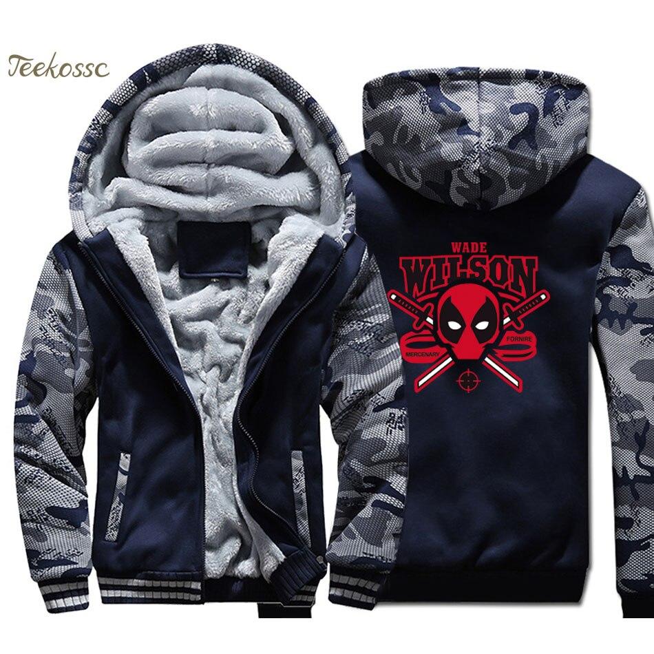 Deadpool Wade Wilson Hoodie Super Hero Funny Print Men Sweatshirt Coat 2018 New Winter Warm Fleece Thick Zipper Dead Pool Jacket