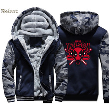 Deadpool Wade Wilson Hoodie Super Hero Funny Print Men Sweatshirt Coat 2018 New Winter Warm Fleece Thick Zipper Dead Pool Jacket