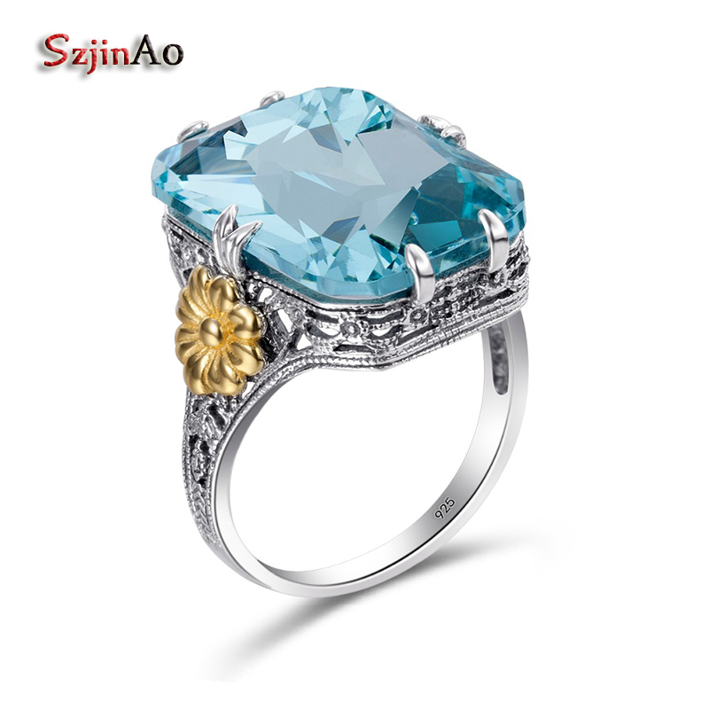 Szjinao Fashion Vintage Lace Gold Flower Square Aquamrine 925 Sterling Silver Rings For Women Engagement Viking Jewelry Handmade