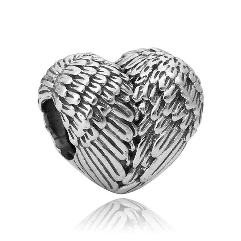 New Silver Plated Bead Charm Love Heart Angelic Feathers Anchor Family Beads Fit Pandora Bracelet Bangle DIY Jewelry(China (Mainland))