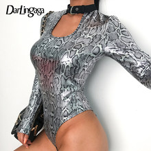 Darlingaga Choker halter snake print bodysuit women silver long sleeve party sexy body snakeskin tops hollow out jumpsuit romper(China)