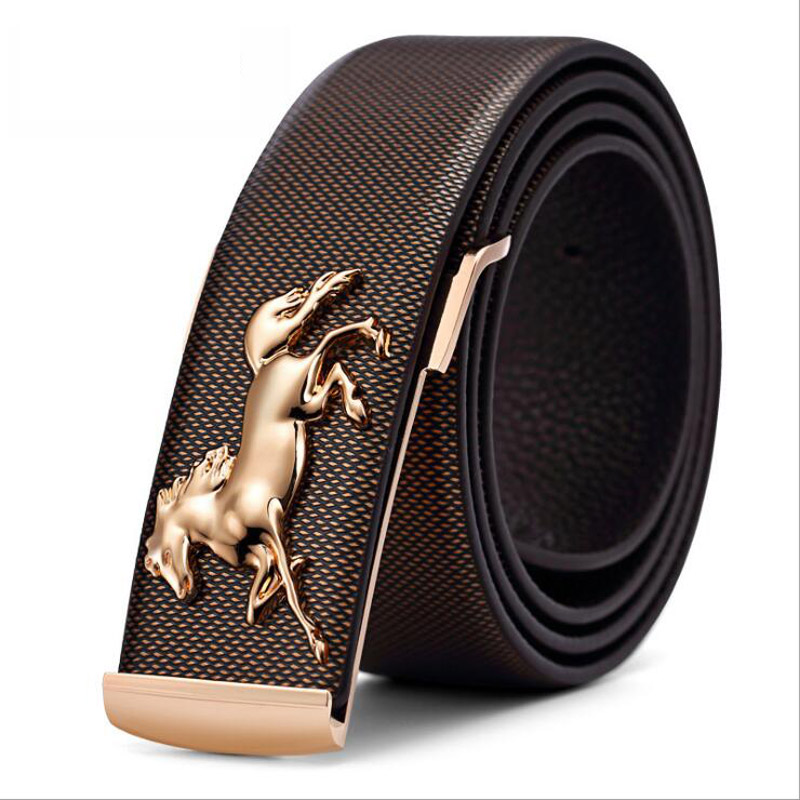 2019 Hot Designer Men Gold Horse Buckle Belt Male High Grade Genuine Leather Belt Luxury Jeans