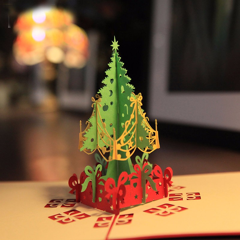 100pcs 3d merry christmas tree greeting cards postcards birthday 100pcs 3d merry christmas tree greeting cards postcards birthday gift message card thanksgiving card wa1352 in cards invitations from home garden on m4hsunfo