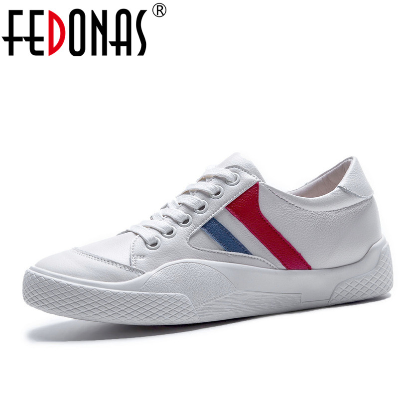 FEDONAS 2018 Fashion Women Flats Shoes Genuine Leather Spring Autumn Women Casual Shoes Flat Heels Sneaker Sport Student Shoes 2017 new spring imported leather men s shoes white eather shoes breathable sneaker fashion men casual shoes