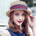 2017 Женщины Summer Sun Hat Англия Мода Вс Hat Плоские Соломенные Шляпы Пляж Шляпа-Панама
