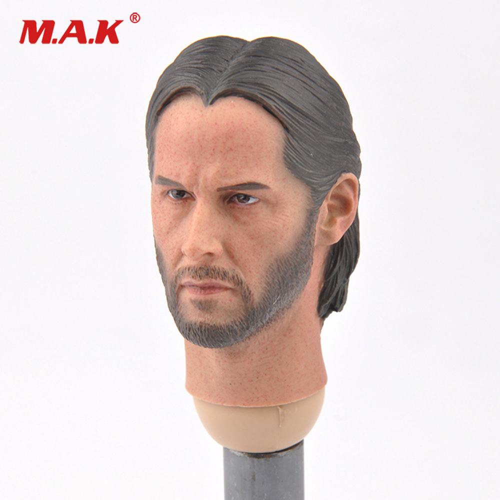 For Collection 1/6 Scale John Wick Keanu Reeves Head Sculpt Carving Model For 12 Inches Action Figure Body Accessory