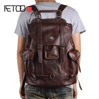 AETOO новая кожаная мужская сумка через плечо Европейская и американская мода первый слой кожи мульти функциональная Дорожная сумка Повседне