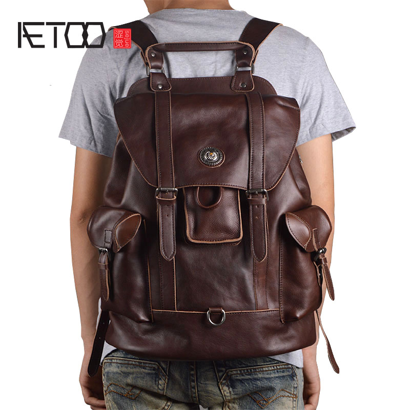 AETOO New leather men's shoulder bag European and American fashion first layer of leather multi-functional travel bag casual bac aetoo the new oil wax cow leather bags real leather bag fashion in europe and america big capacity of the bag