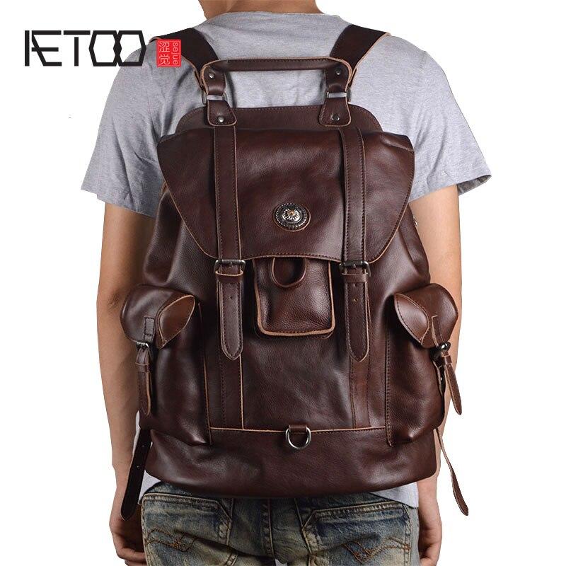 AETOO Nouveau en cuir hommes d'épaule de sac Européen et Américain de mode première couche de cuir multi-fonctionnelle voyage sac casual bac