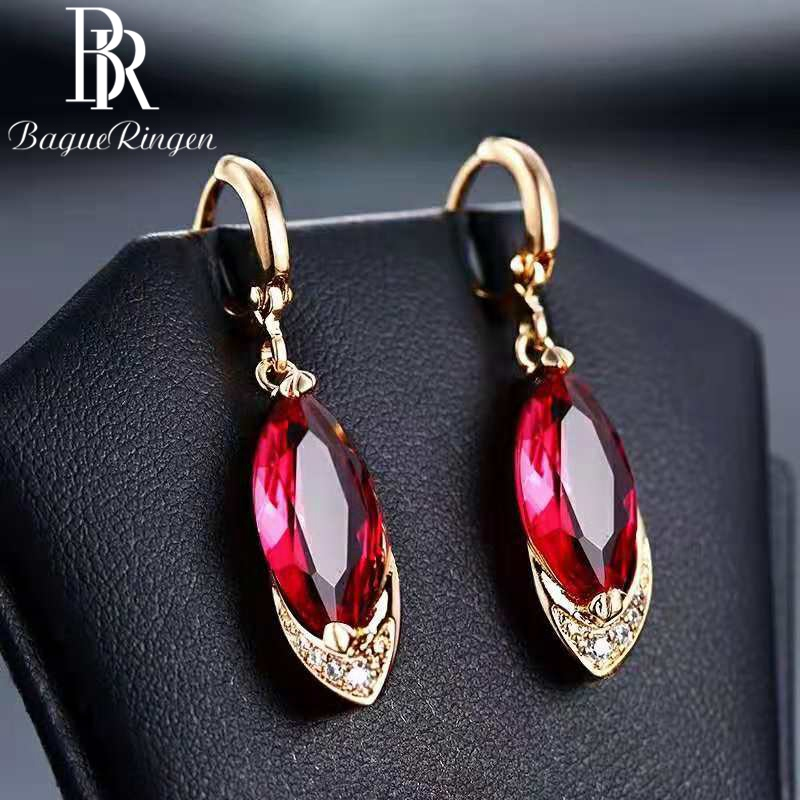 Earring Fine-Jewelry 925-Sterling-Silver Fashion Red Classic Corundum Ancient Pomegranate