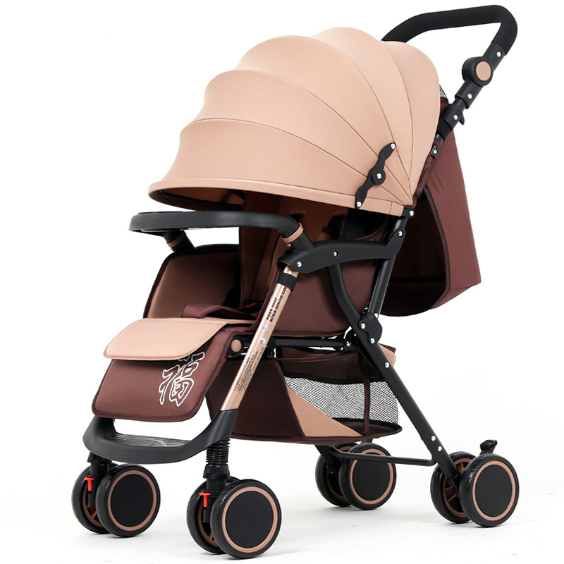 Lightweight two-way stroller Baby Cart Carry Folding Four-wheeled Hand Push Can Sit on The Baby Cart Umbrella car
