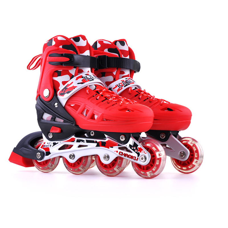 1 Pair Children Inline Skate Roller PVC Skating Shoes Adjustable Washable Breathable Flashing PU Wheels Teenagers Patines 1 pair ice skating blade maple dislocation inline skate roller skating shoes diy 380mm 410mm 430mm length free shipping